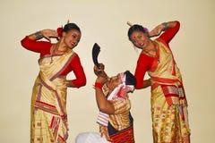 Assamese Bihu Dance, Pune, Maharashtra. stock photos