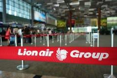 Assangers vérifient dedans Lion Air dans l'aéroport de Changi, Singapour Photos libres de droits