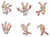 Assassin bunny icon collection Stock Photos