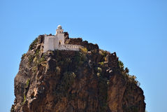 Assassin castle. On a cliff. Mountain Yemen, Eastern Haraz, Al-Hutaib. An important shrine for the followers of the Ismaeli sect Royalty Free Stock Photography