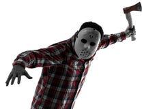 Assassin en série d'homme avec la verticale de silhouette de hache Photo stock
