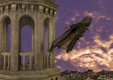 Assassin Jumper Tower Medieval Illustration Royalty Free Stock Photo