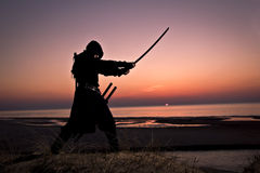 Assassin at the sea. Assassin with sword at the sea on sunset royalty free stock photography