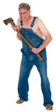 Assassinato louco do machado de Hillybilly do aldeão, assassino de Dia das Bruxas isolado Imagem de Stock