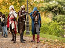 Assassins at Lucca Comics and Games 2017. A group of cosplayers dressed up with Assassins` Creed costumes during the Lucca Comics and Games 2017 festival Stock Image