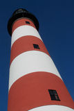 Assateage Lighthouse. Freshly painted assateague lighthouse. View from below Stock Photo