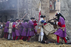 Assault city of Brihuega, during the re-enactment of the War of Stock Image