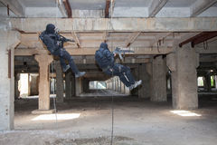 Assault rappeling Stock Photography