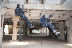 Assault rappeling Stock Image