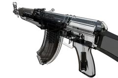Assault riffle mechanism detailed view. 3D render illustration of a detailed view of an assault rifle. The composition is isolated on a white background with no Royalty Free Stock Photo