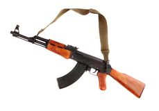 The assault rifle. The assault rifle traditional weapon for terrorist guerrilla isolated on a white background royalty free stock images