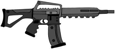 Assault rifle. This illustration depicts a black assault type rifle Royalty Free Stock Photo
