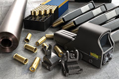 Assault rifle accessories collection Royalty Free Stock Images