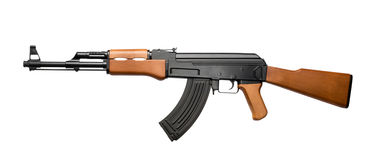 Assault rifle AK-47. Russian assault rifle AK-47 isolated on white royalty free stock photo
