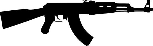 Assault Rifle Ak47 Silhouette On White Background Royalty Free Stock Photo