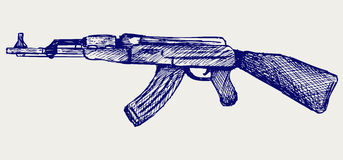 Assault rifle ak47. Doodle style Royalty Free Stock Image