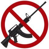 Assault Rifle AR 15 Gun Ban Illustration. Assault Rifle AR 15 Gun Ban Symbol Isolated on White Background Illustration Stock Photography