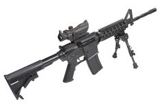 Assault rifle with bipod isolated. On a white background Royalty Free Stock Image