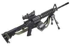 Assault rifle with bipod isolated. On a white background Royalty Free Stock Photo