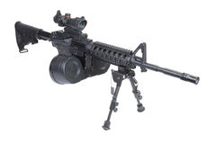 Assault rifle with bipod isolated Stock Image