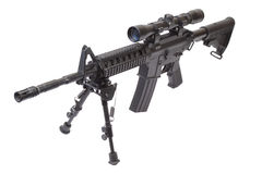 Assault rifle with bipod. Isolated on a white background Stock Images
