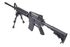 Assault rifle with bipod isolated. On a white background Royalty Free Stock Photos