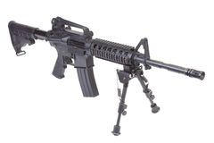 Assault rifle with bipod isolated. On a white background Stock Photo