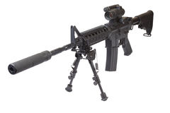 Assault rifle with bipod. Isolated on a white background Stock Image