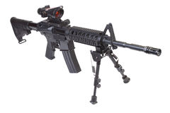 Assault rifle with bipod. Isolated on a white background Royalty Free Stock Photo