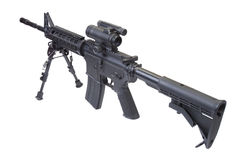 Assault rifle with bipod. Isolated on a white background Stock Photos
