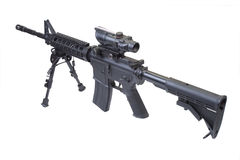 Assault rifle with bipod Royalty Free Stock Image