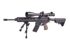 Assault rifle with bipod. Isolated on a white background Royalty Free Stock Photos
