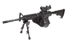Assault rifle with bipod. Assault rifle assault rifle with bipod isolated on a white background Stock Images