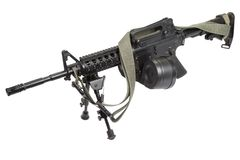Assault rifle with bipod. Isolated on a white background Royalty Free Stock Image