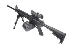 Assault rifle with bipod. Assault rifle assault rifle with bipod isolated on a white backgroundwith bipod isolated on a white background Stock Photography