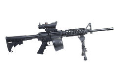 Assault rifle with bipod. Assault rifle assault rifle with bipod isolated on a white backgroundwith bipod isolated on a white background Stock Images