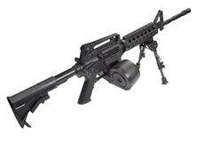 Assault rifle with bipod Royalty Free Stock Photo