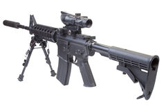Assault rifle with bipod. And silencer isolated on a white background Royalty Free Stock Photos