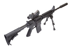 Assault rifle with bipod and silencer. Isolated on a white background Stock Photography