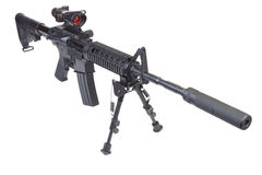 Assault rifle with bipod and silencer Royalty Free Stock Photography
