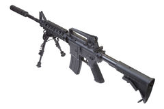 Assault rifle with bipod and silencer Stock Images