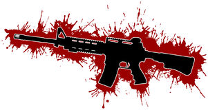 Assault Rifle & Blood Stains. Assault Rifle Silhouette with Red Blood Stains Stock Image