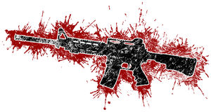Assault Rifle and Blood Stains. Assault Rifle with Red Blood Stains Stock Photos