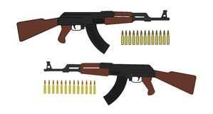 Assault rifle with bullets Stock Photo