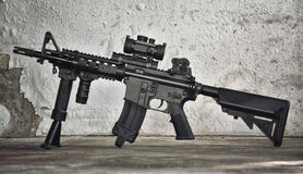 Assault rifle gun, M4A1 weapons and military equipment for army. Royalty Free Stock Photos