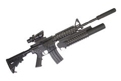 Assault rifle with an M203 grenade launcher Royalty Free Stock Photos