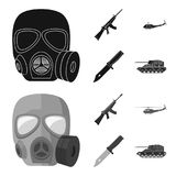 Assault rifle M16, helicopter, tank, combat knife. Military and army set collection icons in black,monochrome style vector illustration