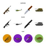 Assault rifle M16, helicopter, tank, combat knife. Military and army set collection icons in cartoon,black,flat style vector illustration