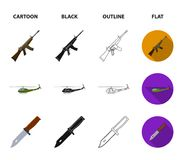 Assault rifle M16, helicopter, tank, combat knife. Military and army set collection icons in cartoon,black,outline,flat stock illustration