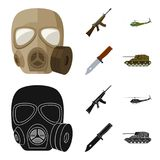 Assault rifle M16, helicopter, tank, combat knife. Military and army set collection icons in cartoon,black style vector stock illustration